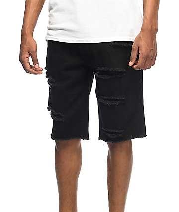 LRG On Deck Bull Destroyed Black Denim Shorts