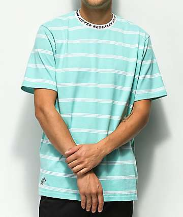 LRG Palm Island Stripe Knit Teal & White T-Shirt