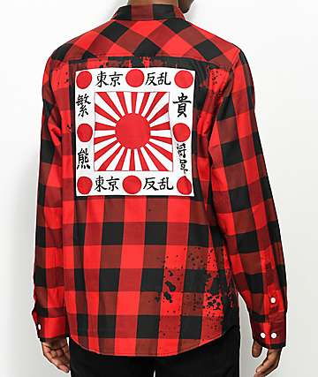 LRG Shogun Black & Red Flannel Shirt