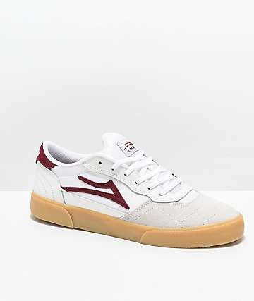 Lakai Cambridge White, Burgundy & Gum Skate Shoes