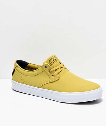 Lakai Daly Dusty Yellow & White Canvas Skate Shoes