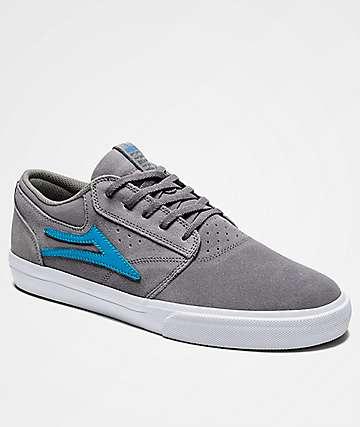 Lakai Griffin Grey & White Suede Skate Shoes