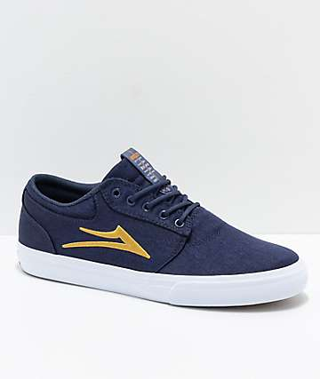 Lakai Griffin Navy, Gold & White Canvas Skate Shoes