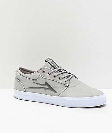 Lakai Griffin Silver & White Textile Skate Shoes