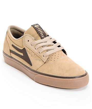 Lakai Griffin Tan, Brown & Gum Suede Skate Shoes