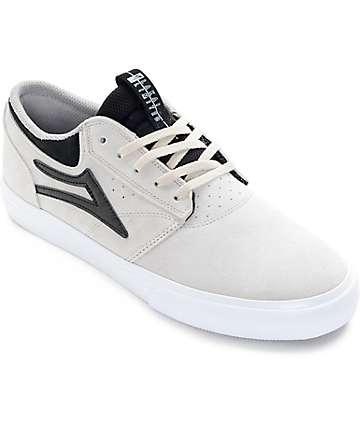 Lakai Griffin White & Black Suede Skate Shoes