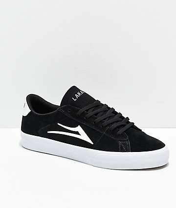 Lakai Newport Black & White Suede Skate Shoes