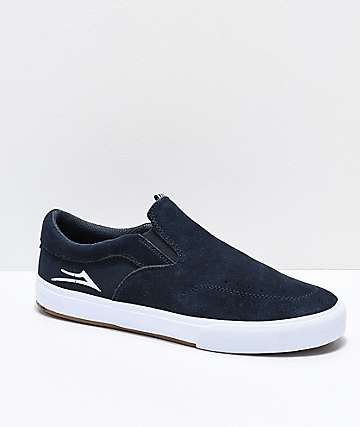 Lakai Owen VLK Midnight Blue & White Suede Slip-On Skate Shoes