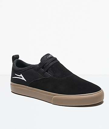 Lakai Riley Hawk II Black & Gum Suede Skate Shoes