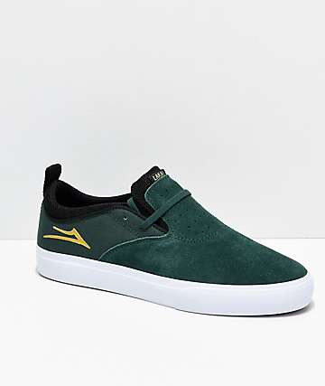 Lakai Riley Hawk II Pine Green, White & Gold Skate Shoes