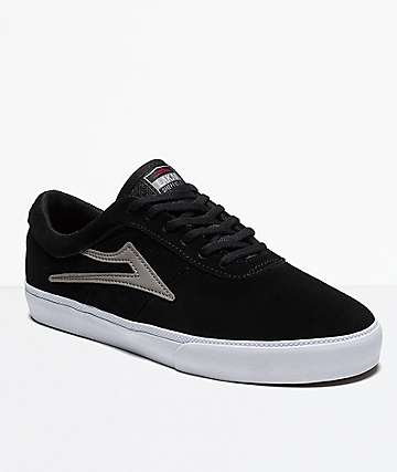 Lakai Sheffield Black, Grey & White Suede Shoes