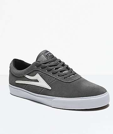 Lakai Sheffield Grey & White Suede Shoes