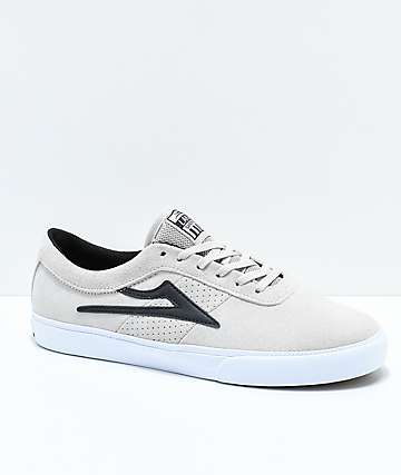 Lakai Sheffield White & Black Suede Skate Shoes