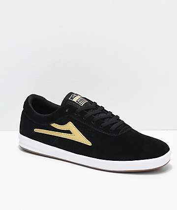 Lakai Sheffield XLK Black & Gold Suede Skate Shoes