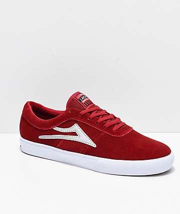 Lakai Sheffield zapatos de skate de ante rojo y blanco