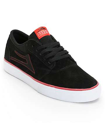 Lakai x Baker Griffin Black, White & Red Suede Skate Shoes