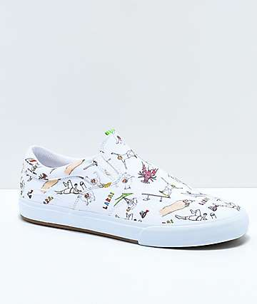 Lakai x Porous Walker Owen VLK Slip-On zapatos de skate de lienzo blanco