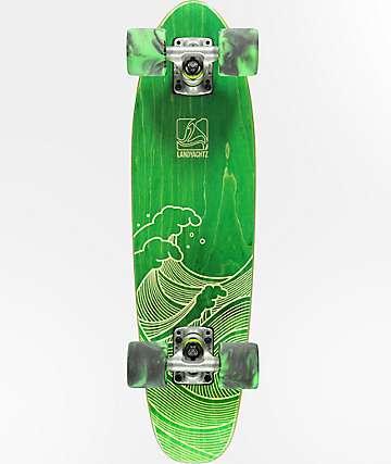 "Landyachtz Mini Dinghy Green Waves 26"" cruiser completo de skate"