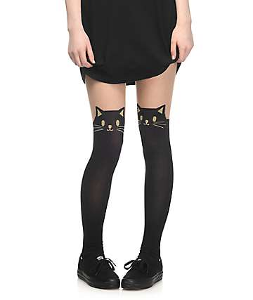 Leg Avenue Black Cat & Nude Tights