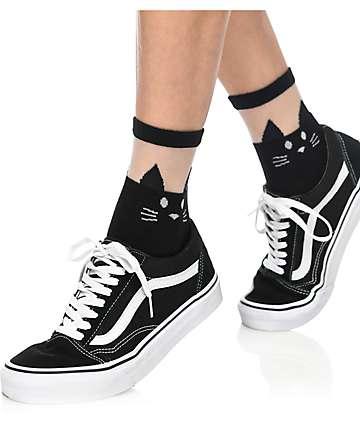 Leg Avenue Black Cat Sheer Anklet Socks