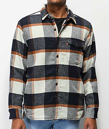 Levi's Navy, White & Orange Sherpa Flannel