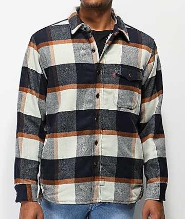 Levi's camisa de franela con sherpa azul y blanco