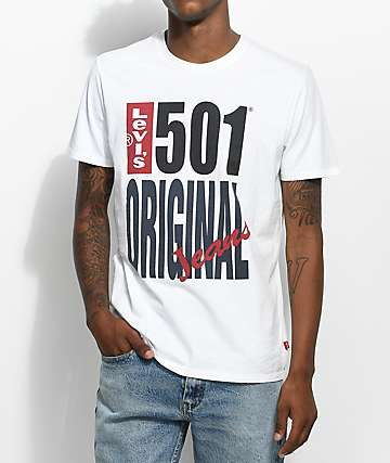 Levis 501 Logo camiseta blanca
