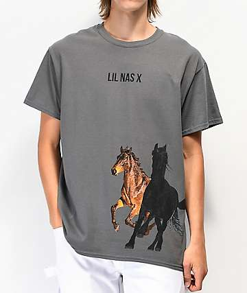 Lil Nas X Horses Charcoal Grey T-Shirt