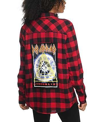 Live Nation Def Leppard camisa de franela en rojo y negro