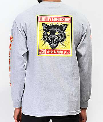 Loser Machine Black Cat Grey Long Sleeve T-Shirt