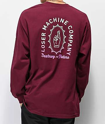 Loser Machine Boneyard Burgundy Long Sleeve T-Shirt