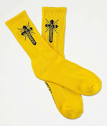 Loser Machine Los Loser Cross Yellow Crew Socks