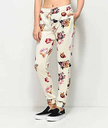 Love, Fire  pantalones joggers en blanco floral