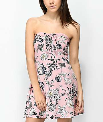 Love, Fire Alyssa Floral Pink Strapless Dress