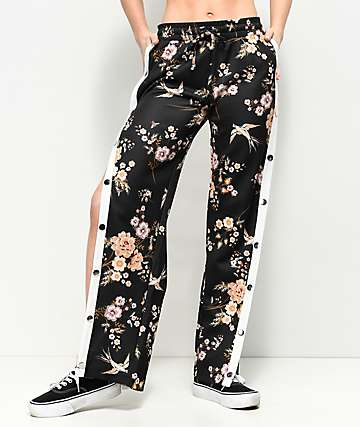 Love, Fire Black Floral Tear Away pantalones de chándal