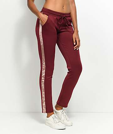 Love, Fire Burgundy & Pink Track Pants