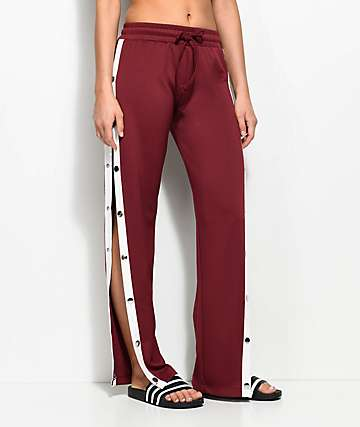 Love, Fire Burgundy Snap Side Track Pants