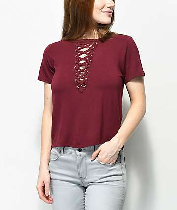 Love, Fire Freddie Deep Lace Up Burgundy Top