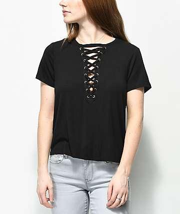 Love, Fire Freddie camiseta negra con cordones