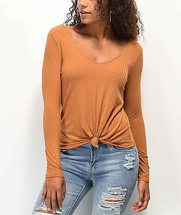 Love, Fire Keely Ribbed Knot Front Cashew Long Sleeve Top