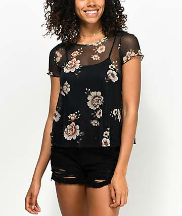 Love, Fire Lanny Black Floral Mesh T-Shirt