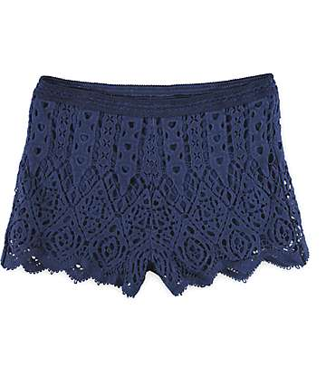 Love, Fire Navy Crochet Scallop Hem Shorts