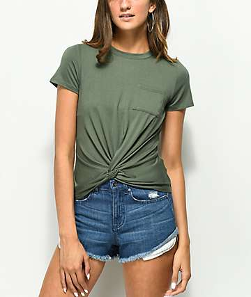 Love, Fire Olive Knot Top
