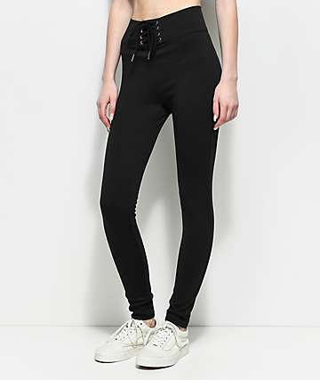 Love, Fire Ponte Corset Waist Black Leggings