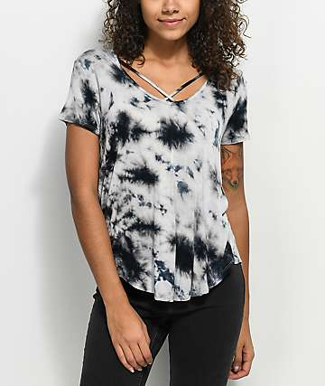 Love, Fire Regan Cross Front camiseta azul con efecto tie dye