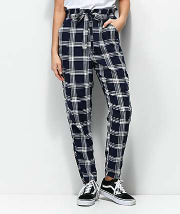 Love, Fire Shay Navy & White Checker Paper Bag Pants