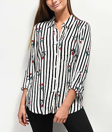 Love, Fire Stripe Cherry camisa de manga larga