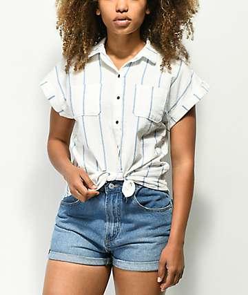 Love, Fire camisa de manga corta de rayas blancas y azules