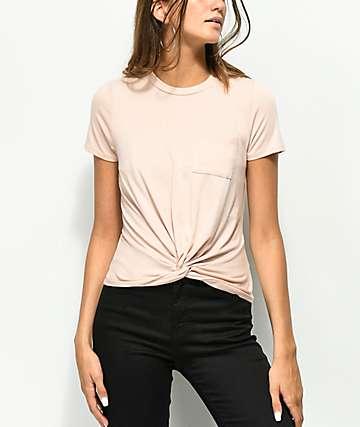 Love, camiseta de color malva con detalle anudado