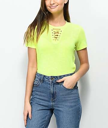 Love. Fire Haydon camiseta amarillo neón con cordones
